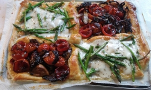 Roasted Cherry Tomato Tart with Balsamic Onions & Wild Asparagus