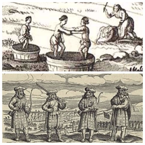 17th century Scotland. Women washing clothes outdoors. Scottish soldiers.