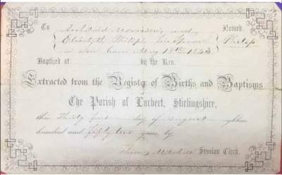 18 May 1843. 2nd great-uncle. Philip Morrison Birth Certificate. Philip's birth certificate was one of the first issued at the Parish. This form is extracted from the Register of Births on 31 Aug 1852 from the Parish of Larbert, Stirlingshire.