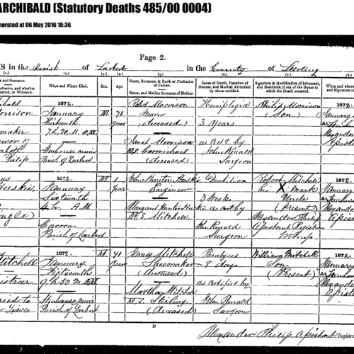 1872. 2nd great-grandfather. MORRISON, Archibald Death cert