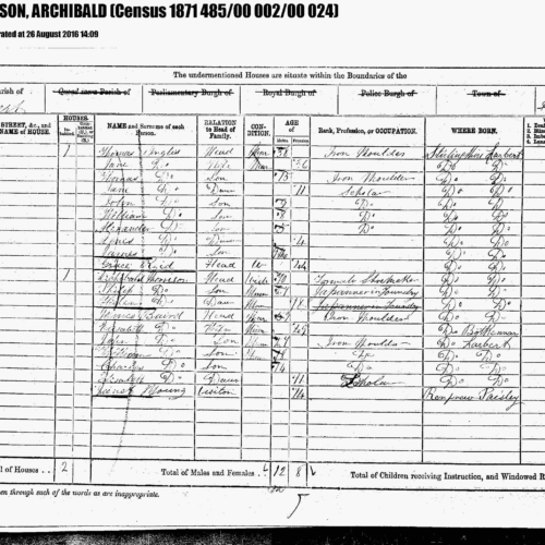 1871. 2nd great-grandfather. Census MORRISON, Archibald