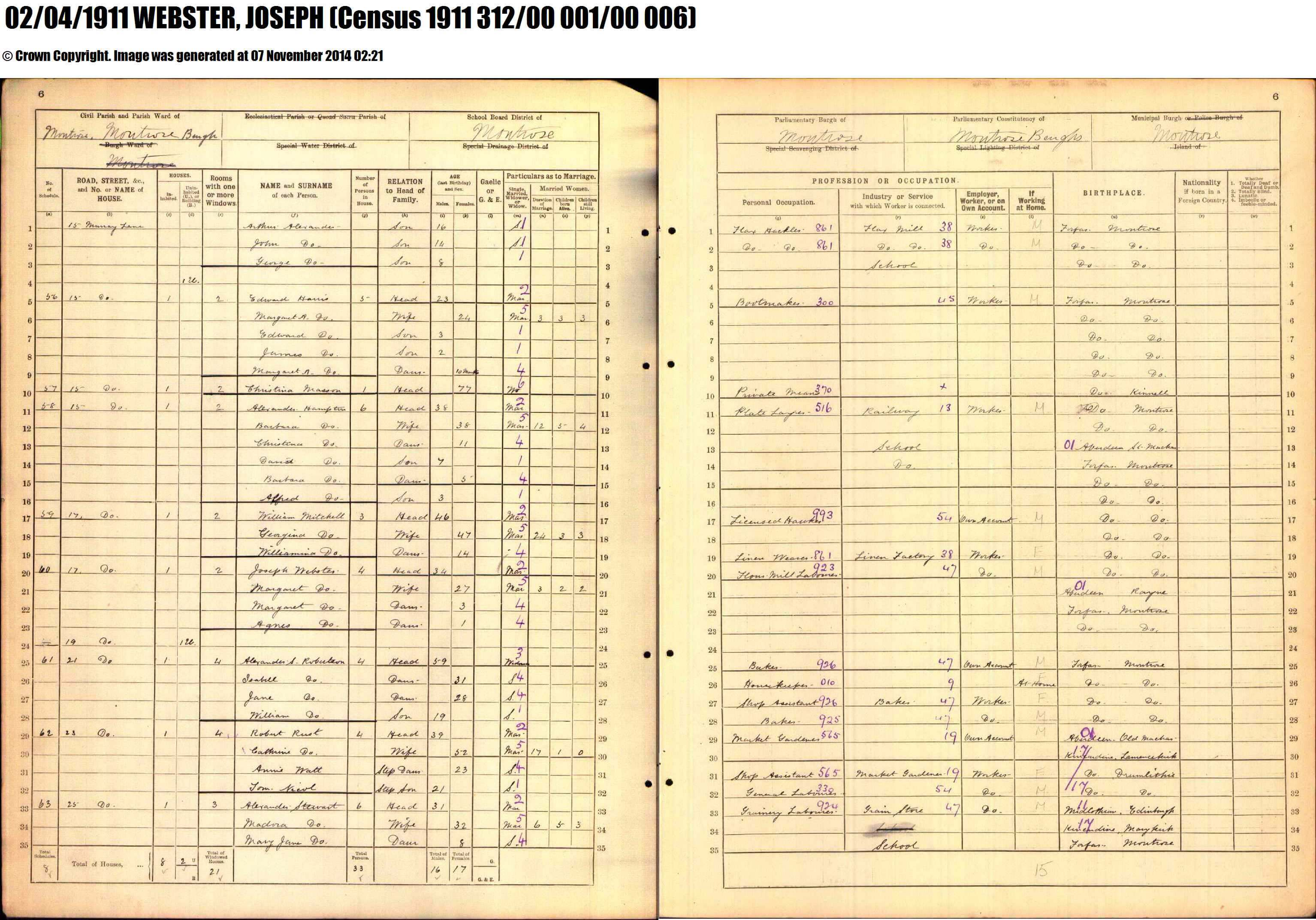 Joseph Webster 1911 Census
