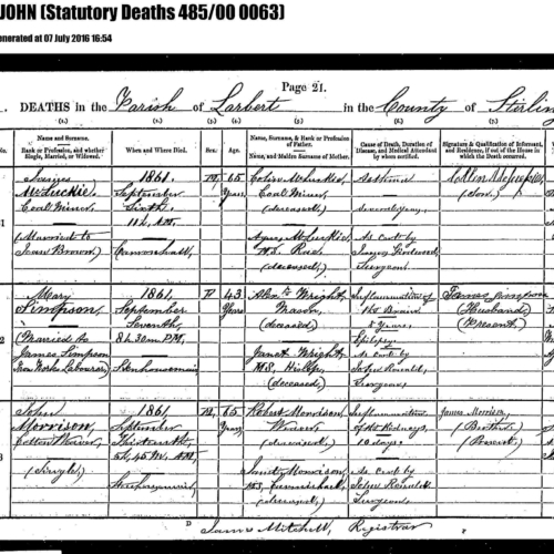 1861. 3rd great-uncle. MORRISON John Death