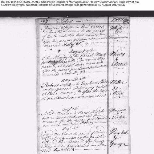 1775. OPR James MORISON Mary DEWAR marriage 26 Sep 1755