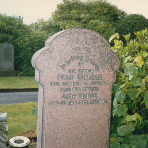 1917 & 1929. Philip Morrison and Jane Younie grave
