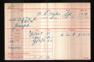 WW1 record Joseph Webster KIA 9 May 1915