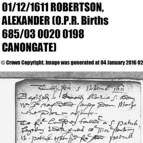 Alexander Robertson (Dobson) 1 Dec 1611 Birth