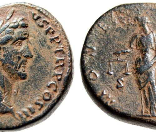 Antoninus Pius AE Sestertius Moneta With Scales Rome 140-144 AD