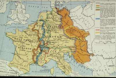 The map above shows the breakup of the Carolingian empire after the death of Louis the Pious