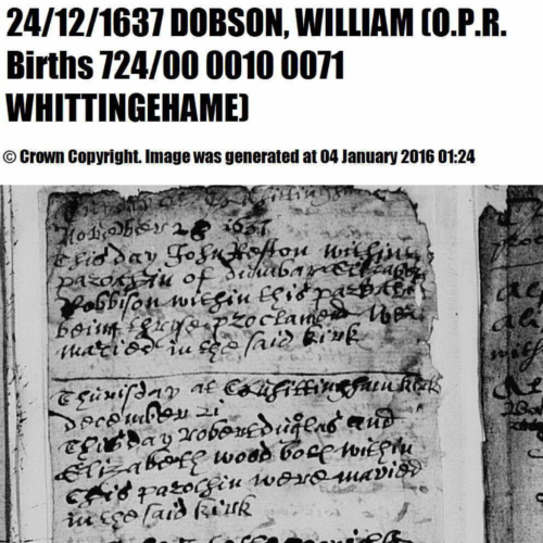 William Dobson birth record 24 Dec 1637 Whittinghame