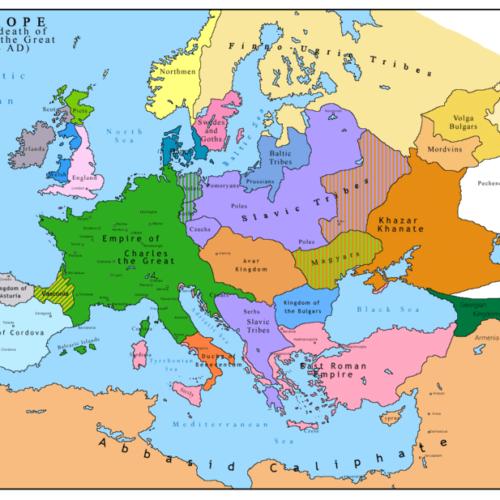 Carolingian Empire (green) in 814