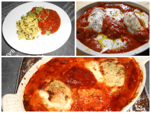 Baked Mozzarella Stuffed Chicken Thighs in tangy tomato sauce