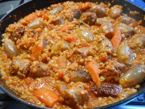 Sausage Casserole with Spicy Tomato, Pearl Barley and Red Lentils