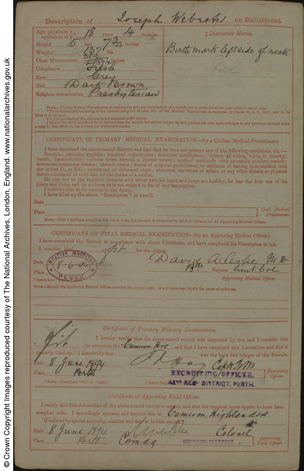 Joseph Webster Army Enlistment Record