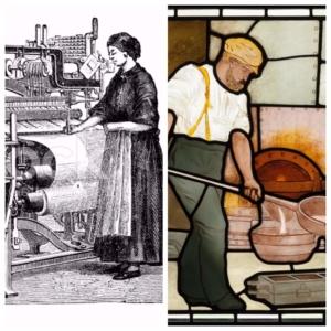 c. 1800s Loom operator & iron moulder