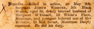 Joseph Webster Death 1915