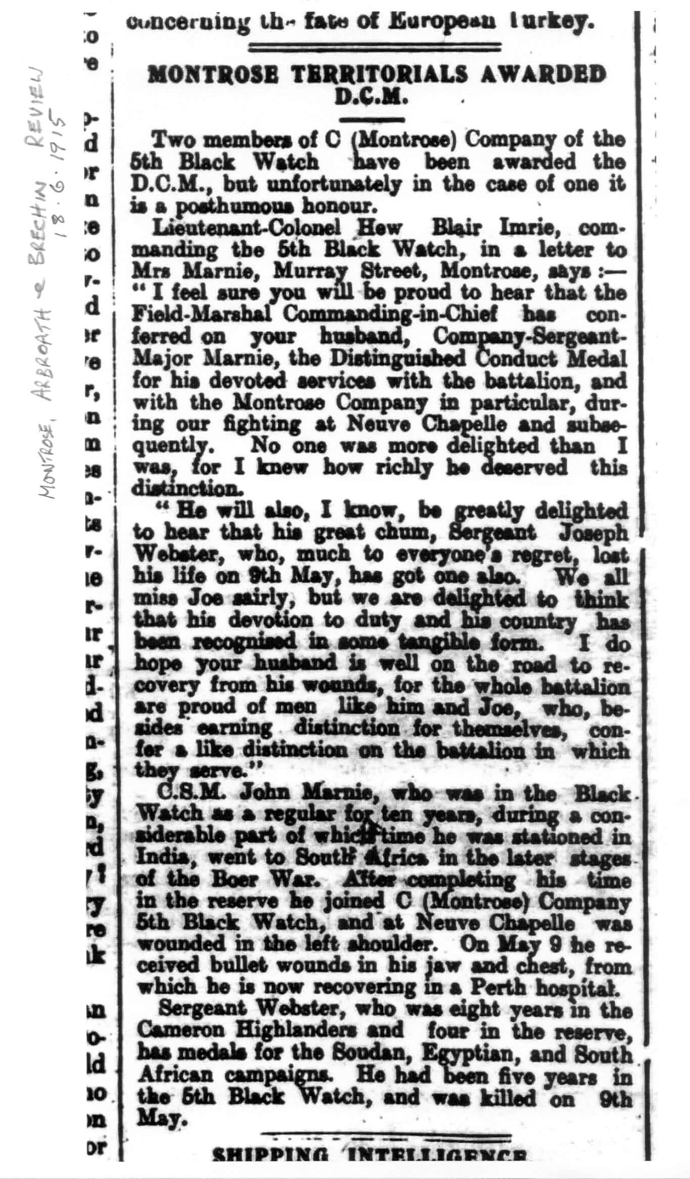 Montrose Review 18 Jun 1915