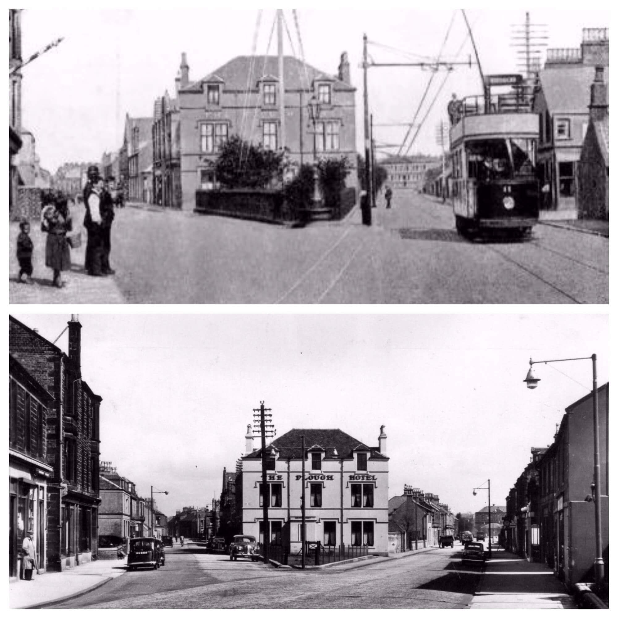 Stenhousemuir. Tram c.1907. The Plough Hotel.