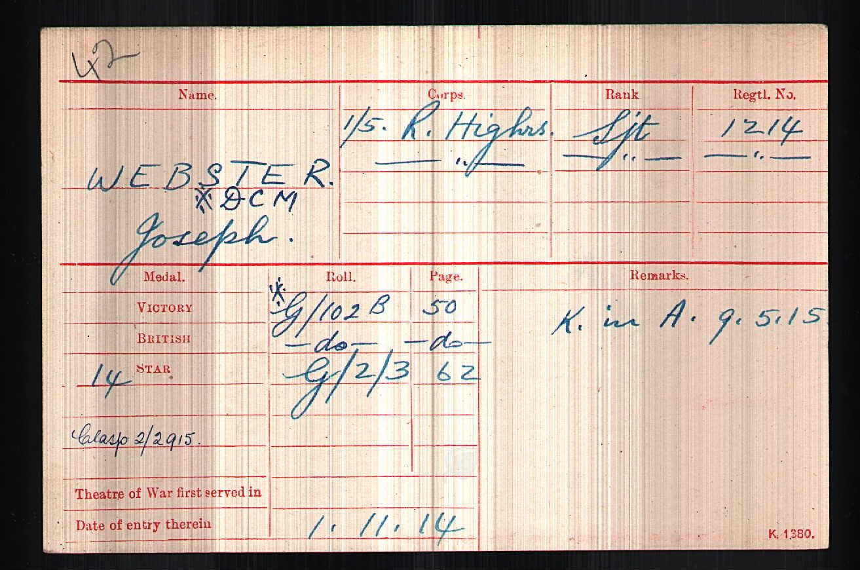 WW1 record Joseph Webster KIA 9 May 1915