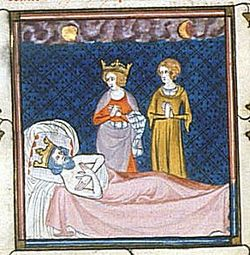 14th-century depiction of the death of Charles Martel