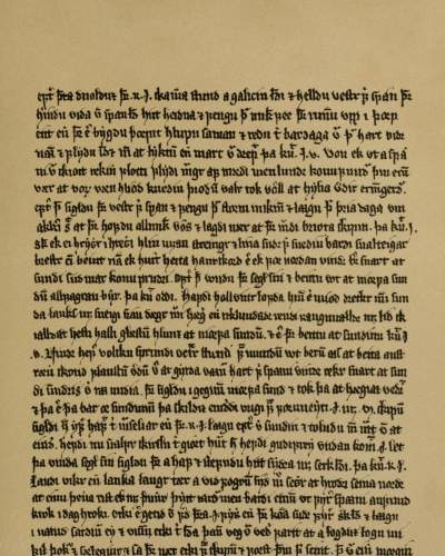 An example of a page from the Orkneyinga saga, as it appears in the 14th century Flatey Book.