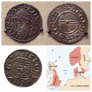 Top: Coins of Canute (British Museum) Left: Silver Penny of Cante. The Dominions 1016-1035