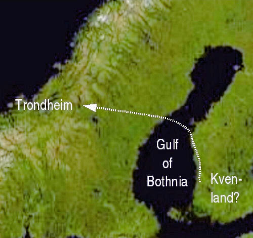 A possible location of Kvenland and Nor's route to the fjord of Trondheim. Kvenland can be placed elsewhere east of Gulf of Bothnia, as well. The selected location on the map is the one with most archaeological finds. Most interpretations locate Kvenland in the less well researched northern coastal area on the Bothnian Bay.