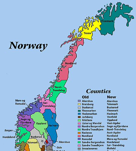 Norway by County (Old and New)