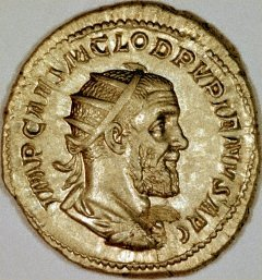Portrait of Pupienus on a Silver Denarius