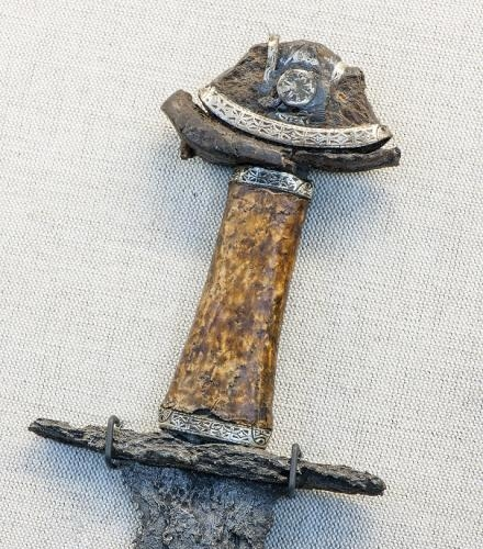 Sword Culture Viking Date First half of the 11th century A.D. Material Iron, silver, gold, silver thread, copper alloy thread Found Langeid, Setesda, Norway