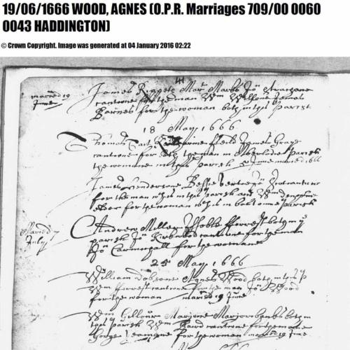 William Dobson(e) and Agnes Wood marriage record Haddington 25 May 1666